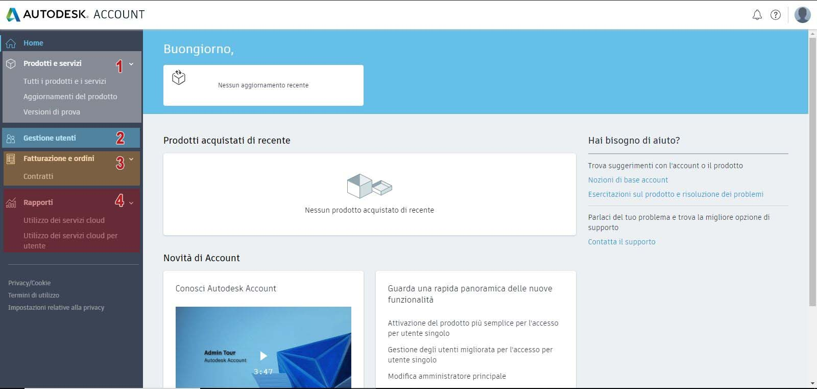All'interno dell'Account del Contract Manager